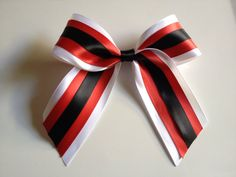 White Red Black Satin Cheer Bow 6x6 on Etsy, $8.00