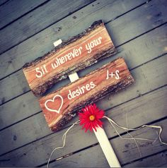 Rustic wedding sign Sit Wherever Your Heart Desires custom with your initials on Etsy, $39.00
