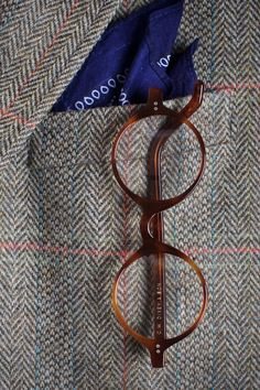 C.W. Dixey & Son Spectacles on Tweed Blazer with Classic Blue Handkerchief Square