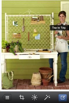 This is genius!!! Old desk and a garden gate (or you could use a trellis) and you have a potting table. from -debz