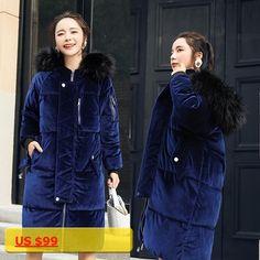 2017 winter womens long hooded cotton-padded coat jacket female warm loose cotton-padded jacket coat Faux Fur velvet Parkas
