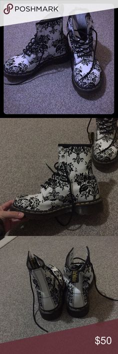 Floral Dr. Martens Black and white floral Dr. Martens, worn about three times. Dr. Martens Shoes Combat & Moto Boots