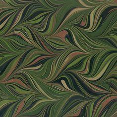 Crepaldi Marbled Paper - Green Waved Git-Gel (1/2 sheet)