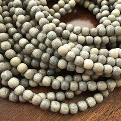 65 Natural Graywood Beads Gray with Cream by OneStopJewelrySupply