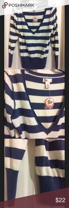 SO Pullover Sweater Deep V neckline Sz XL NWT SO Striped Pullover Sweater Blue White Deep V neckline Sz XL NWT so Sweaters V-Necks