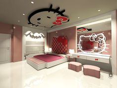 Hello Kitty Bedroom Decoration For Your Little Princess Lovely Inspiration Hello Kitty Bedroom Designs Inspiration
