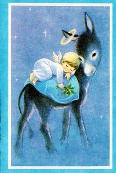 Vintage Christmas Card, Angel sleeping on back of donkey Vintage Christmas Images, Old Christmas, Old Fashioned Christmas, Retro Christmas, Vintage Holiday, Christmas Pictures, Christmas Donkey, Beautiful Christmas, Christmas Graphics