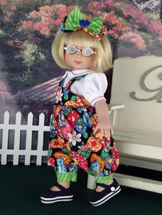 "Overalls. Fit Ann Estelle. 10"" doll.   by   *Little Charmers Doll Designs*"