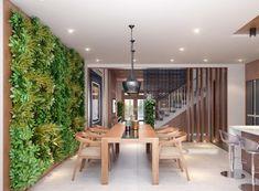 Vertikaler Garten -offene-kueche-wandgestaltung-modern-esstisch-stuehle-holz-hocker