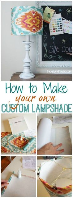 How to make your own custom lampshade tutorial using I love that lamp kit at thehappyhousie.com #LampUpcycle