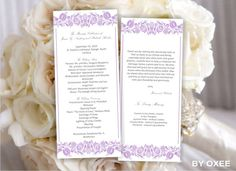 Printable Wedding ceremony program template Lavender Floral pattern by Oxee, DIY, Editable in Word