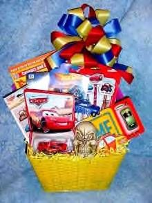 Disney's Cars Themed Basket - Ideas: Lightning or Mater Coloring Books, Cars DVD, Die Cast Cars, Cars Puzzles, Cars Fruit Chews, Cars Water Bottle (find at Disney Store) - Colors: Red, Yellow, White