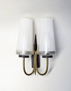 French Vintage Wall Sconce with 2 Arms  50s