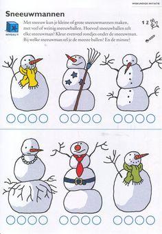 Bonhommes de neige Avec la neige, vous pouvez faire de petits ou de grands bonhommes de neige, avec beaucoup ou peu de boules de neige. Combien de boules de neige compte chaque sneeiwman? Couleur autant de tours sous le bonhomme de neige. À quel bonhomme vous comptez les plus de balles? et le moins?