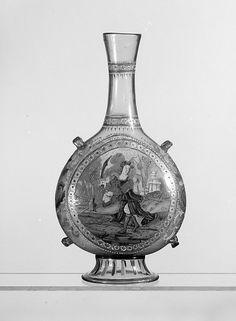 Pilgrim bottle | Italian, Venice (Murano), probably 19th century | The Met Museum #NYC Gift of Julia A. #Berwind 1953  #art #artwork #antique #museum