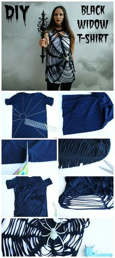 DIY spider web t-shirt: Just cut and add a spider