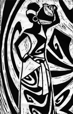 ✽ 'an african woman' - cat hartigan - linocut Arte Tribal, Tribal Art, Afrique Art, African Art Paintings, Illustration Mode, African American Art, African Men, African Style, African Attire