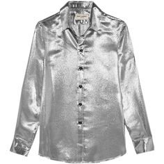 Saint Laurent Silk-blend lamé shirt ($510) ❤ liked on Polyvore featuring tops, shirts, blouses, clothing - ls tops, saint laurent, wet look top, 80s tops, shiny shirt, yves saint laurent and shirt top