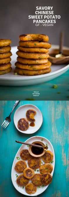 Learn how to make this super easy naturally gluten-free sweet potato pancakes made with mashed sweet potatoes, glutinous rice flour, and scallion. Perfect side dish, appetizer, or as a snack #glutenfree #vegan #easyrecipe #appetizer #snack