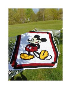 Mickey Mouse Blanket / Disney /Crochet / Throw / by TheWoodenChest C2c Crochet Blanket, Crochet Quilt, Crochet Cross, Crochet Blanket Patterns, Crochet Blankets, Lap Blanket, Baby Blankets, Mickey Mouse Blanket, Crochet Mickey Mouse