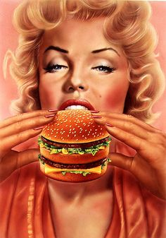 Insatiable Americana Consumerism. Marilyn Monroe, Big Mac, Graphic Illustration, Parody,