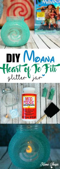 DIY Disney's Moana Heart of Te Fiti Glitter Jar Craft! Here are step by step instructions for creating your very own Moana Heart of Te Fiti Glitter Jar, inspired by Disney's Moana! Moana Diy, Jar Crafts, Diy And Crafts, Heart Of Te Fiti, Hawaian Party, Glitter Jars, Glitter Top, Glitter Crafts, Glitter Paint