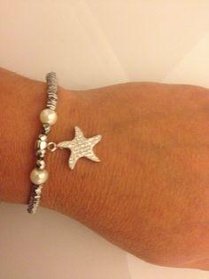 צמיד כסף צמיד פנינים צמיד כוכב ים צמיד המטייט צמיד אבנים  צמיד עדין לאישה מתנה לחברה    א ❤️passion   מרמלדה מרקט
