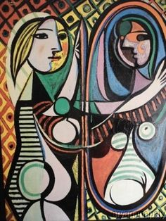 Picasso Lady in The Mirror Exceptional Reproduction Oil 42 in x 60 In | eBay