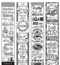Printable Coloring Bible Journaling Margin Strips Faith Verses For Wide Margins Or Planner Sticker Bookmarks