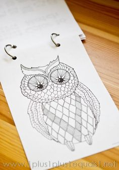 Beautiful owl coloring pages -- great for adults too!