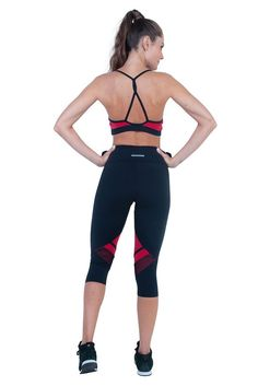Bia Brazil Black Just In Red Meshed Workout Capri. Maximum performance ... 3b88fa0de33