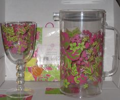 Lilly Pulitzer Acrylic Pitcher in Luscious w/ matching Goblet new w/o tag demo #LillyPulitzer    ON SALE NOW !! EBAY SELLER W/ OVER 6700 POSITIVE FEEDBACKS & 16 YRS EXPERIENCE