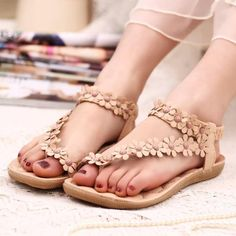 """- Buy """"Hotsales Summer Women's sandals 2017 Bohemia Women's Shoes Flower Sandalias Femininas Casual Thong Flats Shoes Women Beige"""" for only USD. Womens Summer Shoes, Womens Flats, Bohemia Style, Shoes Flats Sandals, Flat Shoes, Flat Sandals, Women's Shoes, Shoes 2016, Summer Styles"""