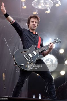 Sebastien Lefebvre of Simple Plan performs on day one of the Pinkpop Festival at…