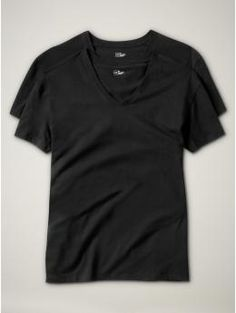 Short-sleeved v-neck (2-pack) - Soft knit cotton T shirts, perfect for layering underneath a dress shirt or sweater.