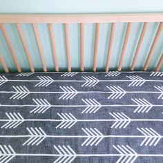 crib sheet in charcoal arrows // made-to-order