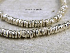 Silver Plated Brass Chips-Heishi-Rondelle Beads 4/2mm Hole 2mm (25)  #Unbranded #Boheiman