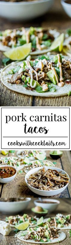 Carnitas tacos with sweet and spicy shredded pork with crispy bits on the edges, fresh and fiery tomato salsa, creamy avocado, salty cojita cheese, and fragrant cilantro all topped off with spicy mayo and lime | recipes | recipe | appetizers | apps | party food | low ingredient | easy | the easiest | quick | simple | dinner | ideas | tacos | mexican food |
