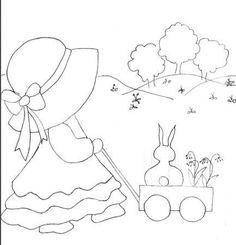 sunbonnet sue - L' atelier du vieil Ane Baby Quilt Patterns, Applique Patterns, Applique Quilts, Embroidery Applique, Hand Embroidery Designs, Embroidery Stitches, Machine Embroidery, Patch Quilt, Quilt Blocks