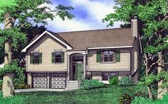 Browse cool split level house plans now! We offer tri level home plans, bi-level split entry designs w/modern open floor plans, split foyer ranch homes & more. Craftsman Style House Plans, Ranch House Plans, New House Plans, Split Level Home Designs, Split Level Floor Plans, Split Level Exterior, Rambler House Plans, Bi Level Homes, Split Level Remodel