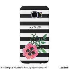Black Stripe & Pink Floral Monogram Samsung Case Samsung Galaxy S6 Cases