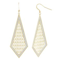 Isla Simone Brushed Gold Tone Cut Out Diamond Shaped Dangle Earrings with Sparkle Edging, Women's