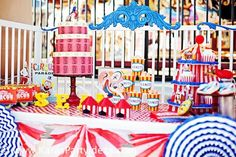circus cupcake stand | Circus Train Big Top Vintage Carnival Carousel Themed Birthday Party ...