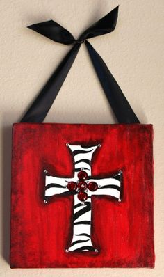 Cute cross canvas paint idea for wall decor. Red, black and white. Canvas painting. Wall art.