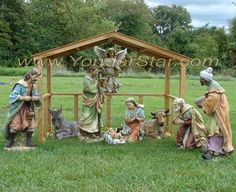 Outdoor nativity set with large wooden stable. Fine nativity statuary for a large outdoor nativity display. Christmas Manger, Christmas Nativity Scene, Christmas Yard, Victorian Christmas, Outdoor Christmas, Nativity Scenes, Xmas, Yard Nativity Scene, Christmas Carnival