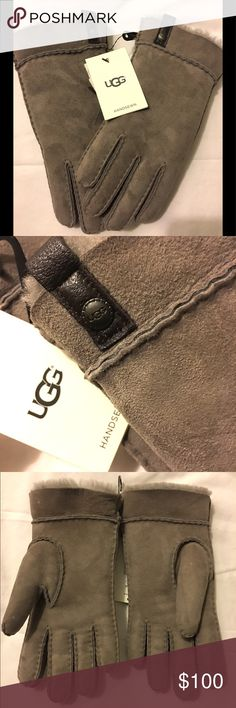 """UGG Grey Tenney Glove Keep your hands luxuriously warm with these sheepskin gloves. A leather pull tab helps you get this pair on and off with ease.  Twinface Leather trim """"UGG"""" logo medallion and leather tab accents each glove Functional cuff UGG Accessories Gloves & Mittens"""
