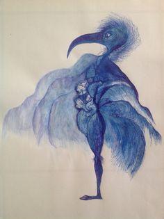 Pen and paint, bleu bird  hannelore vandendriessche