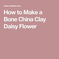 How to Make a Bone China Clay Daisy Flower