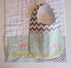 Baby Bib BurpCloth Set - Woodland Deer in Aqua Grey / Modern Baby Bibs / Chevron Baby Bib