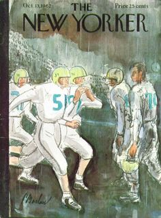 New Yorker cover Perry Barlow football in the rain 10/13 1962